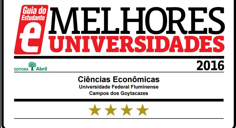 Ciências Econômicas recebe 3 estrelas do Guia dos Estudantes da Editora Abril em 2016