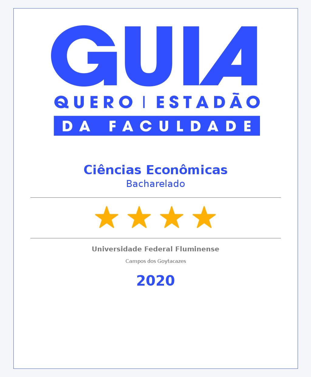 Ciências Econômicas recebe 4 estrelas no Guia Quero Faculdade (antigo Guia do Estudante)